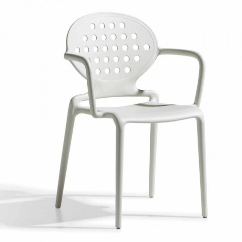 4 sillas de exterior con reposabrazos apilables Made in Italy - Scab Design Colette