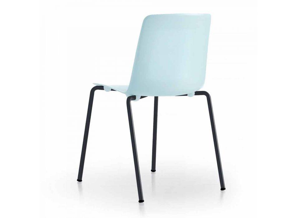 4 sillas apilables de exterior en metal y polipropileno Made in Italy - Carita