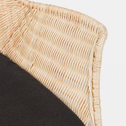 4 sillas de exterior en tejido de mimbre y acero Homemotion - Berecca