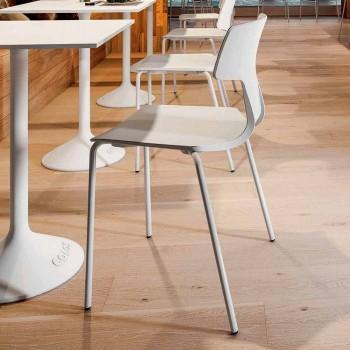4 sillas apilables en metal y polipropileno Made in Italy - Clarinda