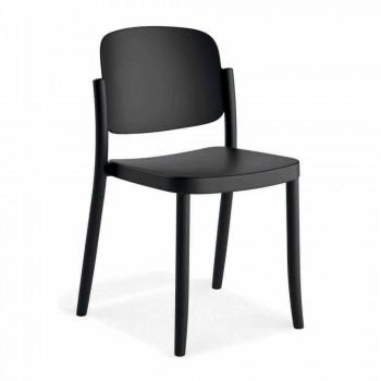 4 sillas de exterior modernas apilables en polipropileno Made in Italy - Bernetta