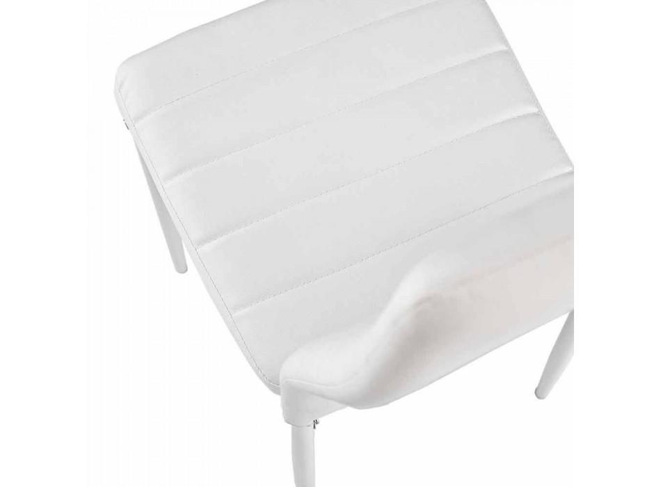 4 Sillas de Comedor Modernas en Imitación de Cuero y Patas Metálicas - Spiga
