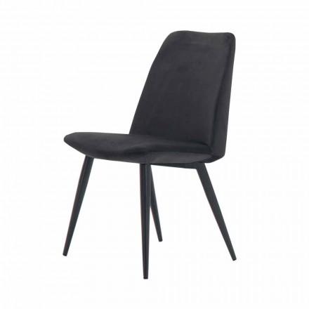 4 sillas de comedor tapizadas tapizadas en terciopelo Made in Italy - Grain
