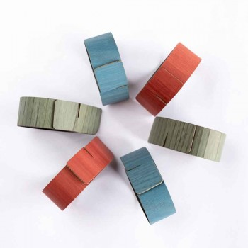 6 Servilleteros de Diseño en Colores Surtidos Made in Italy - Orinal