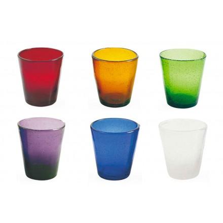 Servicio de artesanía de 6 vasos de vidrio soplado de colores - Yucatán
