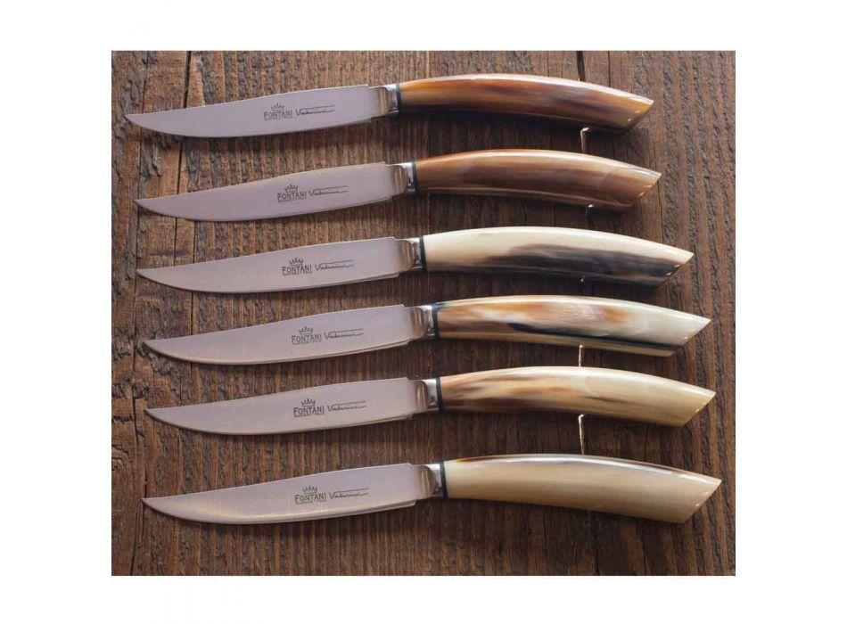 6 cuchillos de cocina artesanales con mango de cuerno de buey Made in Italy - Marine