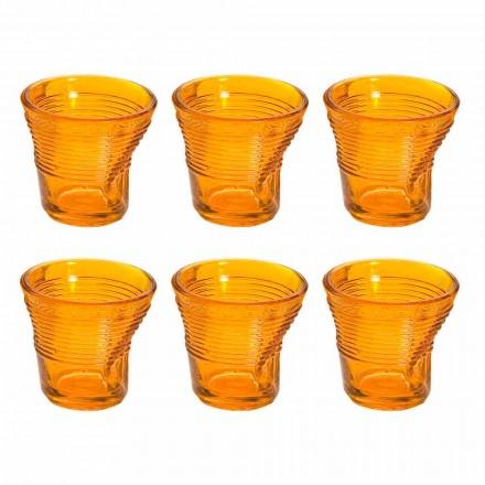 12 tazas de café de vidrio de diseño de color arrugado - Sarabi
