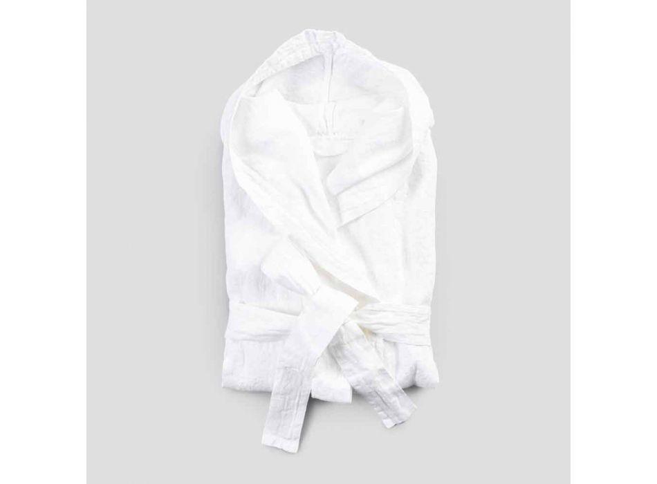 Albornoz blanco de lino pesado con capucha de lujo italiana - Palace