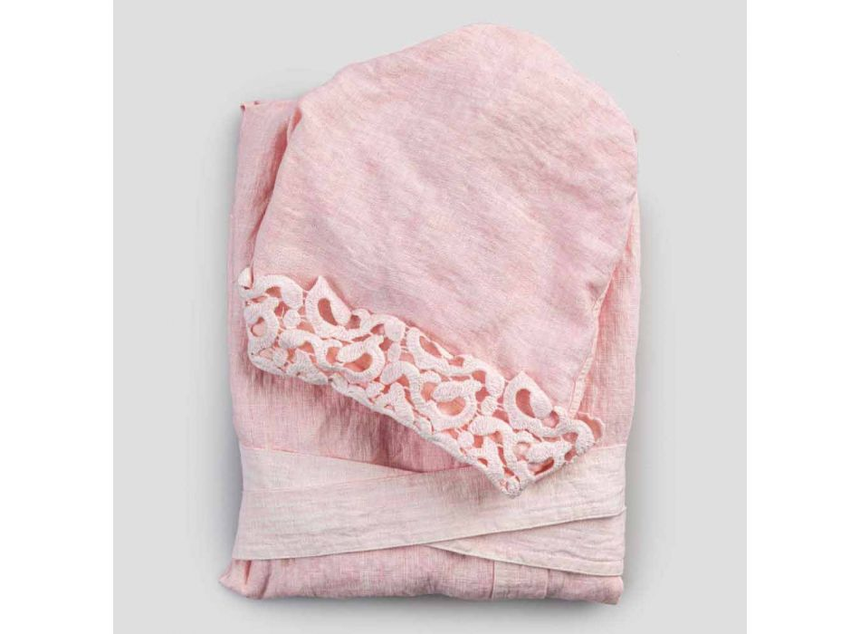Albornoz de lino con capucha y poema, diseño de lujo en 2 colores - Castillo
