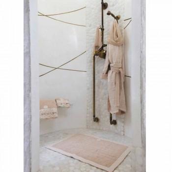 Albornoz reversible de felpa y lino beige con capucha - Mirandola