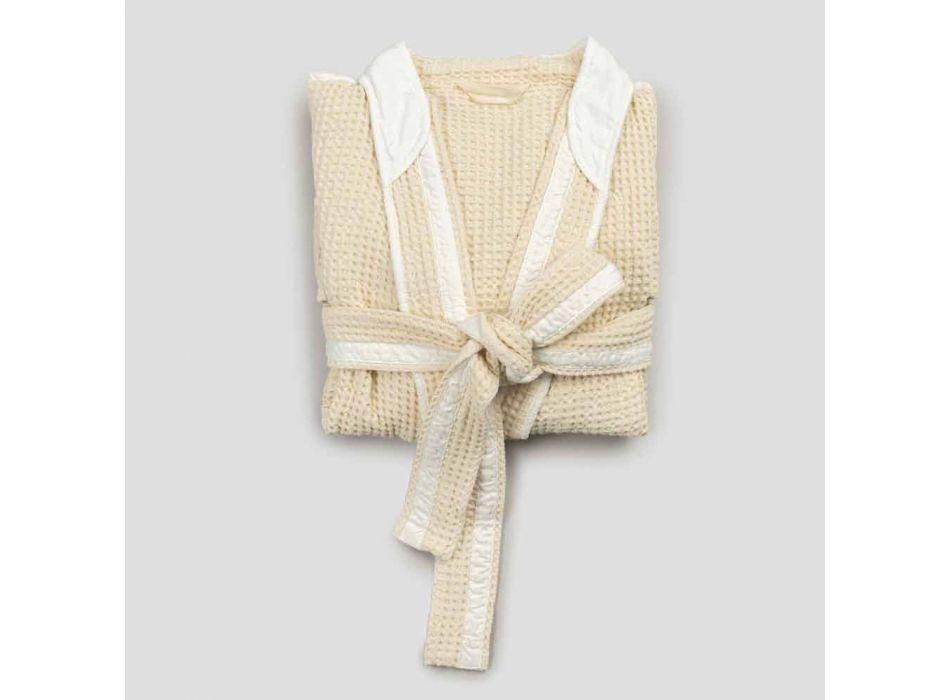 Albornoz kimono de lujo en lino y algodón, 2 acabados Made in Italy - Kleone