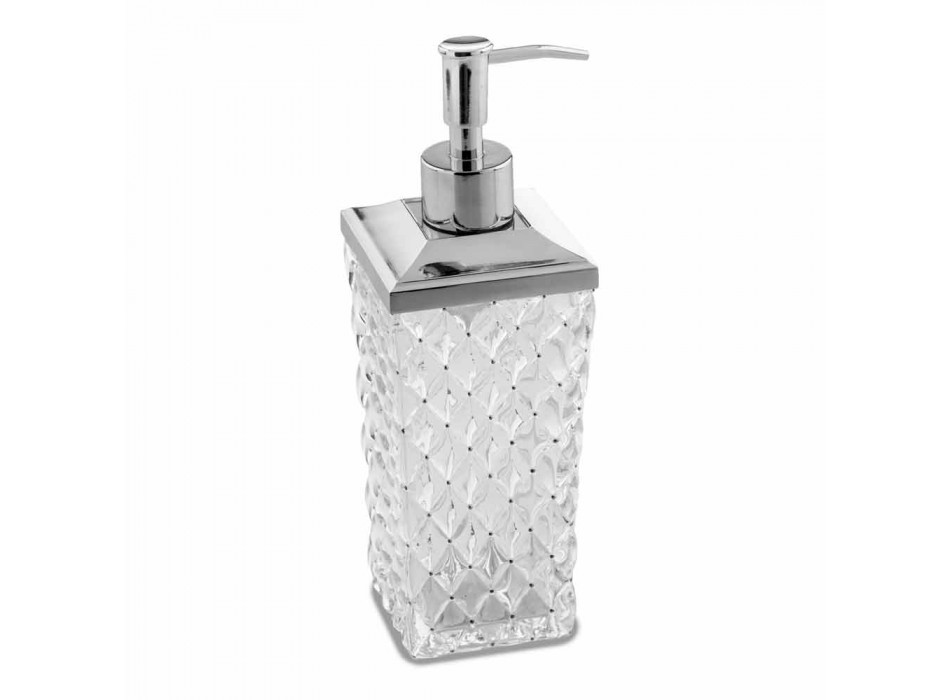 Accesorios de baño independientes en cristal Capitonnè y metal - Plata