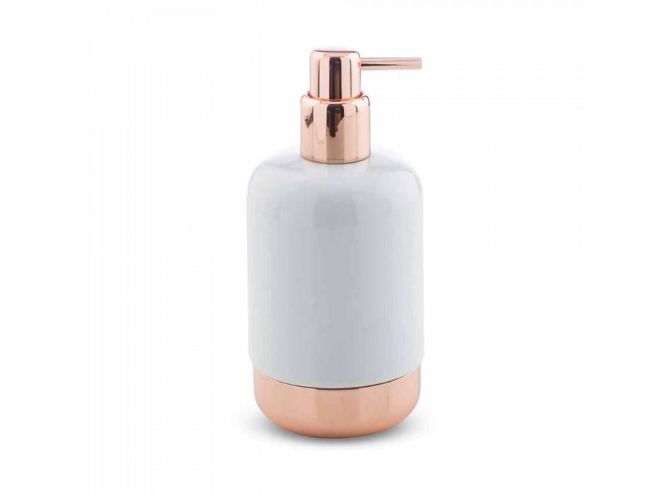 Accesorios de baño independientes en porcelana blanca con detalles de cobre - Scampia