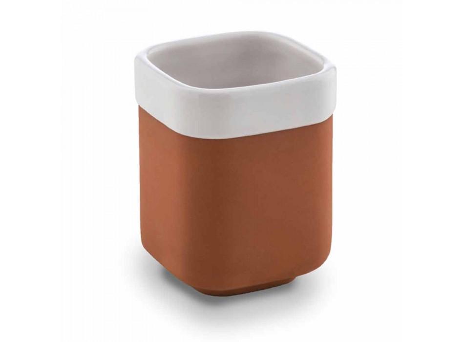 Accesorios de baño independientes en terracota y cerámica blanca - Terracota