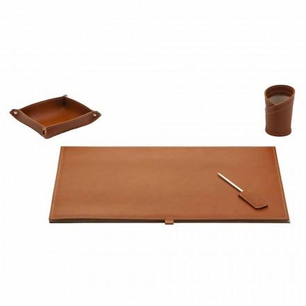 Accesorios para escritorio de diseño en cuero regenerado, 4 piezas - Aristóteles