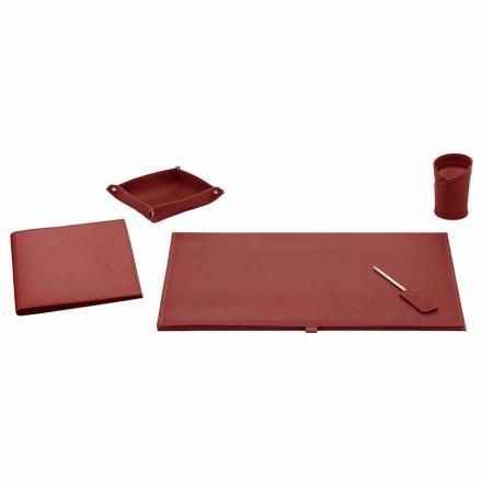 Accesorios de oficina para escritorio en cuero regenerado, 5 piezas - Aristóteles
