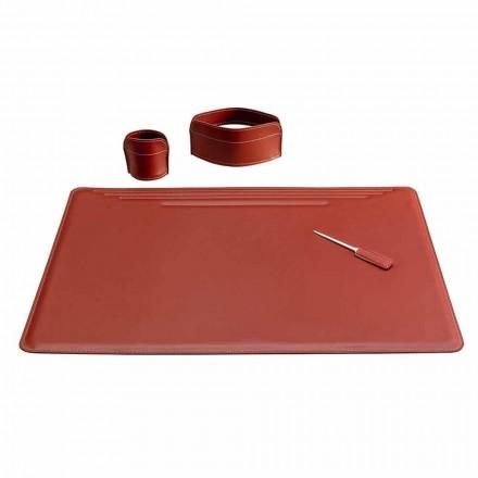 Accesorios para escritorio de oficina en cuero, 4 piezas, Made in Italy - Ebe