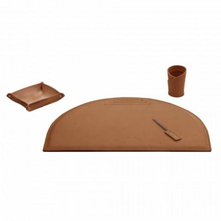 Accesorios de oficina para escritorio en cuero regenerado, Made in Italy- Medea