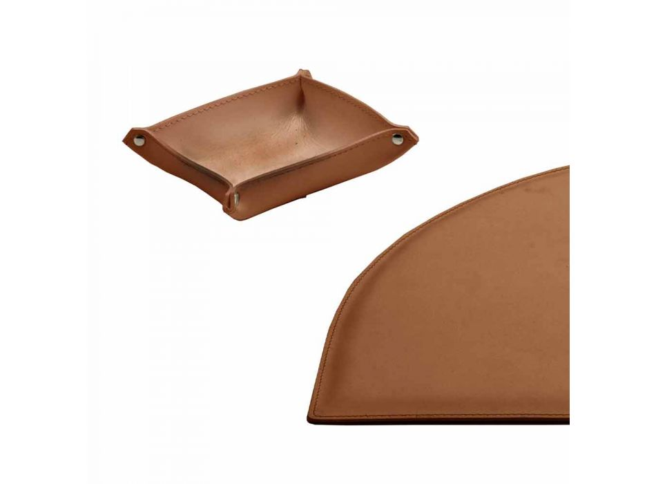 Accesorios de escritorio en cuero regenerado 4 piezas Made in Italy - Medea