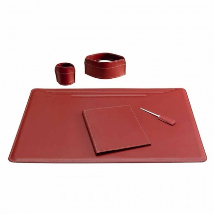 Accesorios de escritorio de cuero de 5 piezas hechos en Italia - Ebe