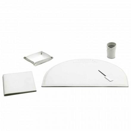 Conjunto de 5 accesorios de escritorio de oficina en cuero, Made in Italy - Medea