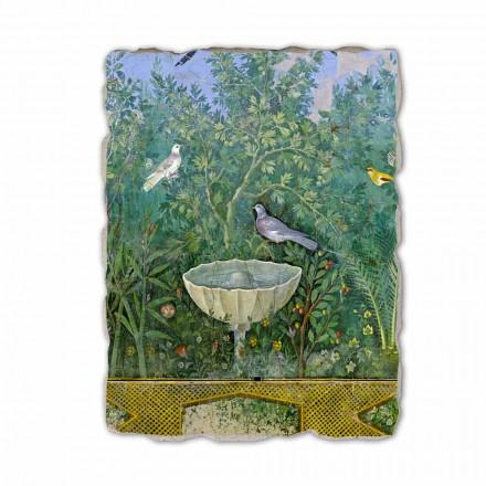 Fresco Arte Romana Jardín con Hermes y Fuente fragmento