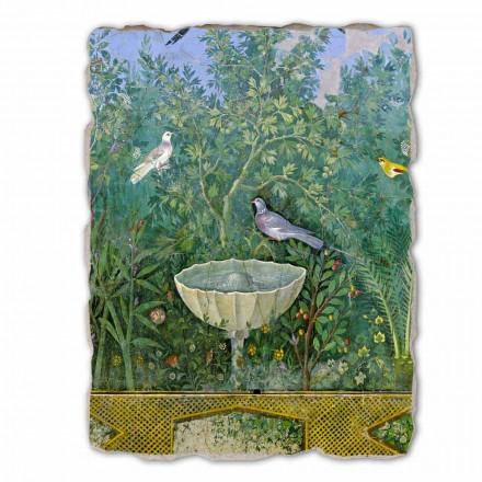 Fresco grande Arte Romana Jardín con Hermes y Fuente frag