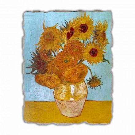 Fresco grande Van Gogh Jarrón con girasoles, hecho a mano