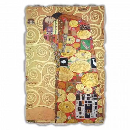 Fresco grande Gustav Klimt, El abrazo, hecho en Italia