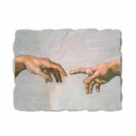 Fresco Michelangelo Creación de Adán hecho a mano-fragmento