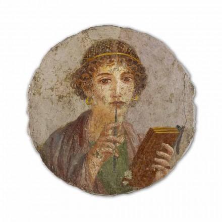 Fresco reproducción Arte Romana La poetisa hecho en Italia