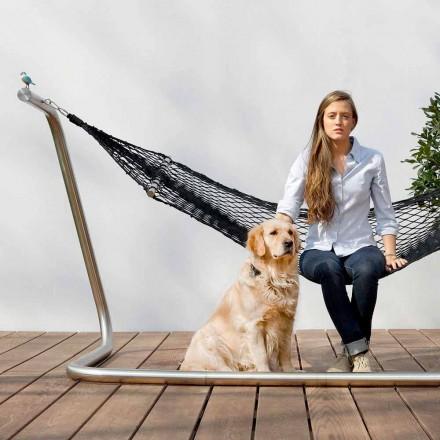 Hamaca de acero y diseño de red de jardín negro Made in Italy - Cumberland