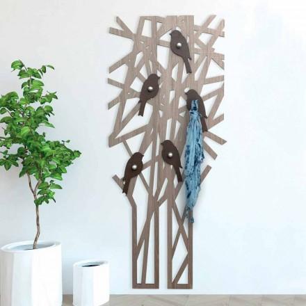 Perchero de pared en madera coloreada con un diseño moderno - Alberuccell