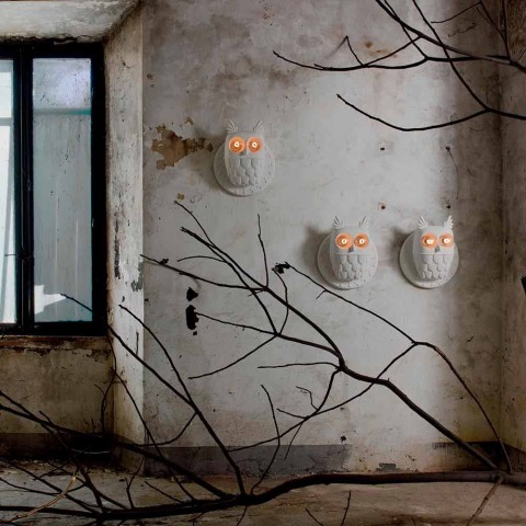 Aplique de pared 2 luces en cerámica blanca mate Diseño moderno Búho - Búho