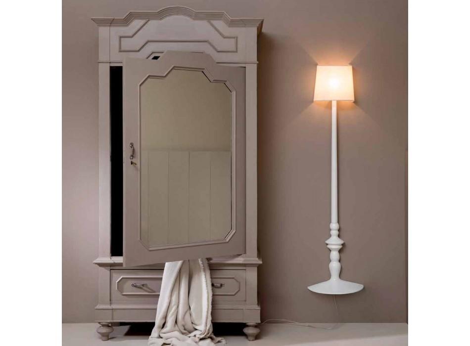 Aplique de pared alto en cerámica blanca y pantalla en diseño de lino - Cadabra