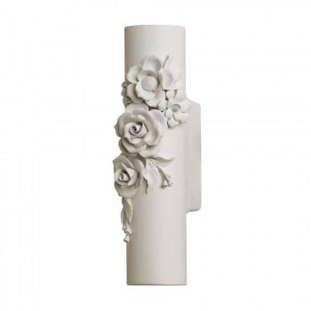 Aplique de pared de cerámica blanca mate con flores decorativas - Revolution