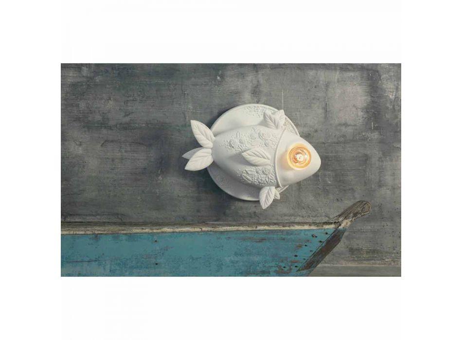 Aplique de pared con diseño de cerámica blanca mate con pez decorado - Pez