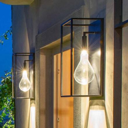 Lámpara de pared de hierro para exteriores con luz LED cálida y vidrio Made in Italy - Falda