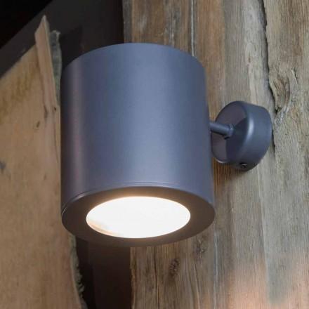 Lámpara de pared para exterior en hierro y aluminio con LED incluido Made in Italy - Rango