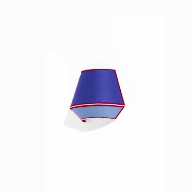 Aplique de diseño en algodón azul con detalles en rojo y blanco Made in Italy - Soya
