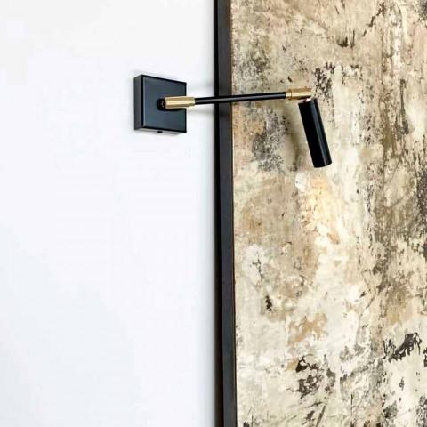 Aplique hecho a mano en hierro y aluminio negro mate Made in Italy - Velina