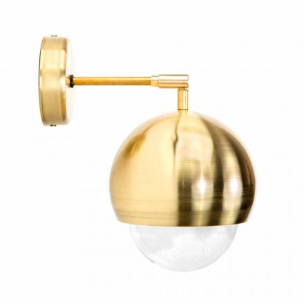 Lámpara de pared en latón cepillado y vidrio hecho a mano Made in Italy - Gandia