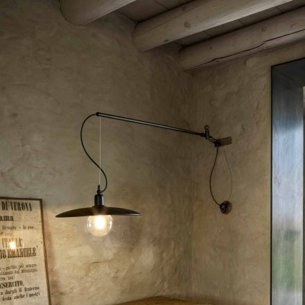 Lámpara de pared vintage de latón con brazo móvil - Meridiana Aldo Bernardi