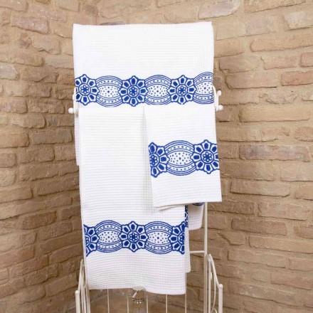 Toalla artesanal italiana con estampado hecho a mano en algodón - Viadurini by Marchi