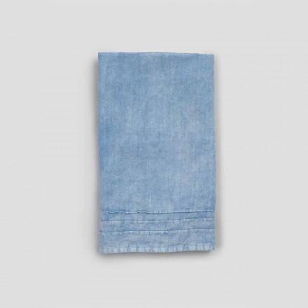 2 toallas de invitados de lino grueso azul de diseño italiano de lujo - Jojoba