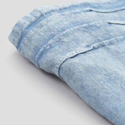 Toalla para invitados de lino grueso azul claro Diseño de lujo italiano - Jojoba