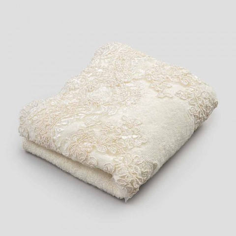 Toalla para invitados en rizo con borde de mezcla de lino y algodón con encaje - Ginova