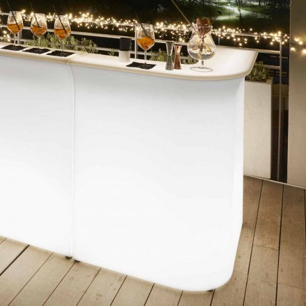 Rincón para exteriores con luz de escritorio Slide Break Corner, hecho en Italia