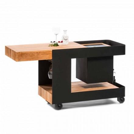 Diseño moderno de barra móvil sobre ruedas con mesa de madera y acero - Giancalliope