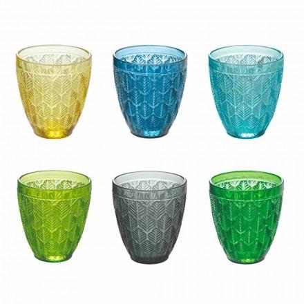 Vasos de agua de vidrio coloreado con decoración de hojas, 12 piezas - Indonesia